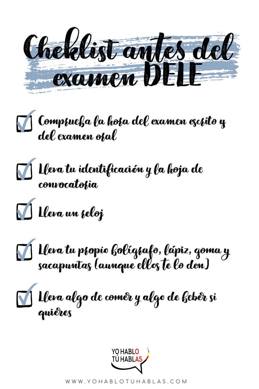 Checklist antes del examen DELE