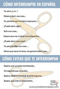 como interrumpir en español