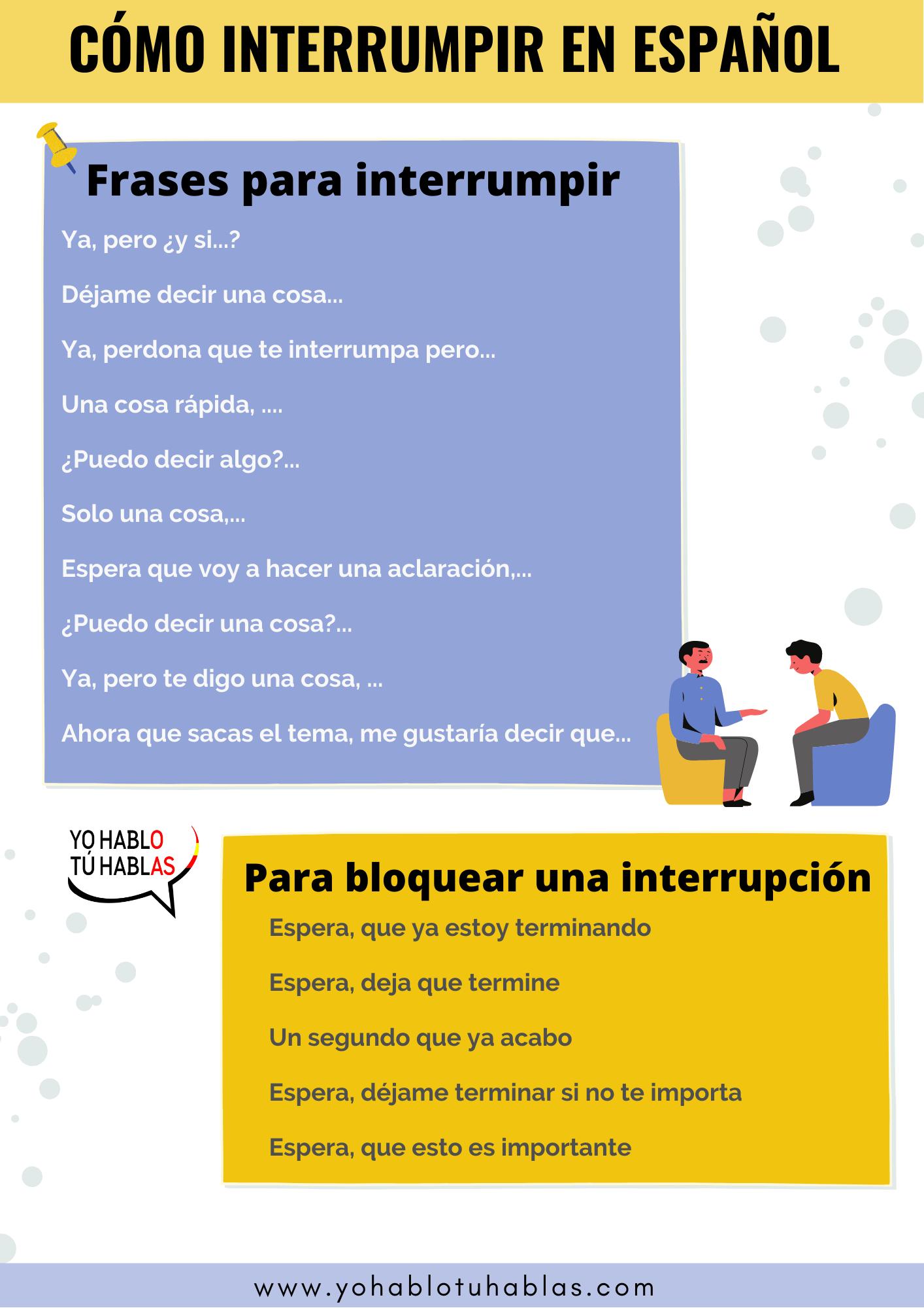 interrumpir en español
