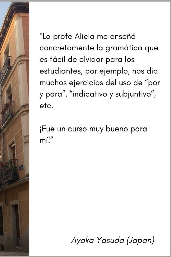 personalized online spanish lessons testimonial